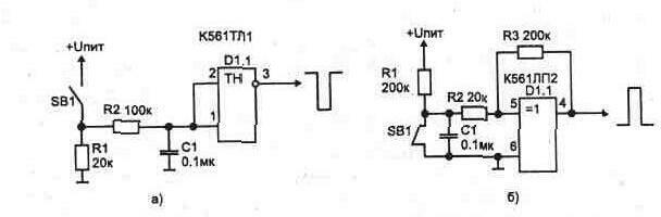 а) триггера Шмитта; б)