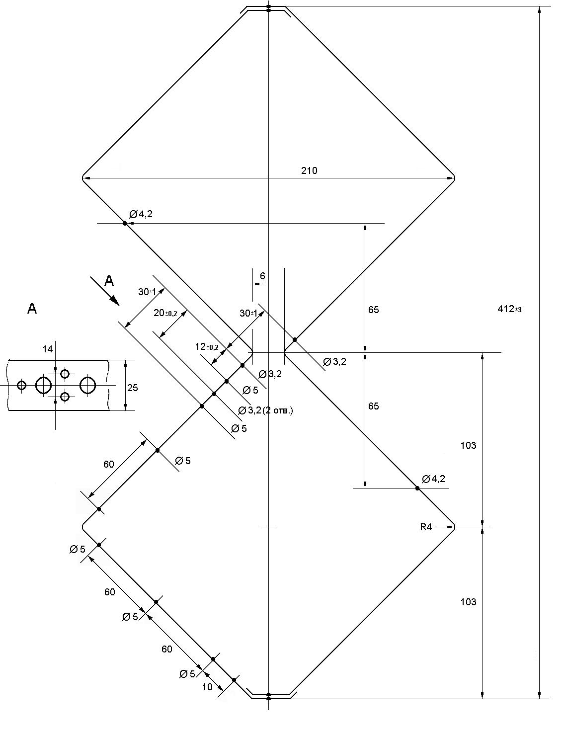 Антенна для телевизора харченко размеры схема чертеж
